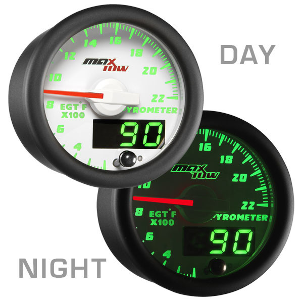 White & Green MaxTow 2200° Fahrenheit EGT Gauge Day/Night View