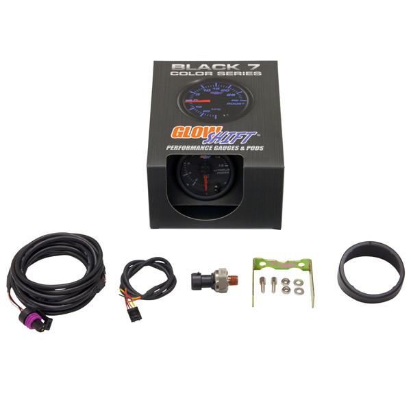 GlowShift Black 7 Color 1600 PSI Nitrous Pressure Gauge Unboxed