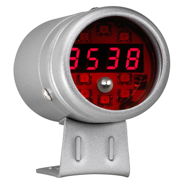 Silver Digital Tachometer w/ Red LED Shift Light