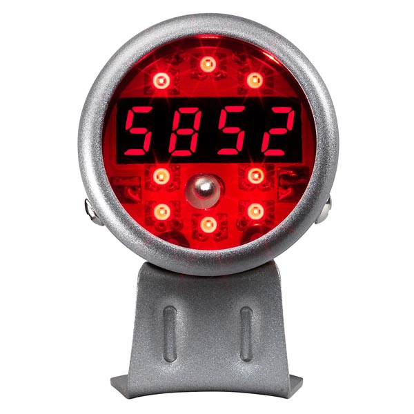 Silver Digital Tachometer w/ Red LED Shift Light Straight View