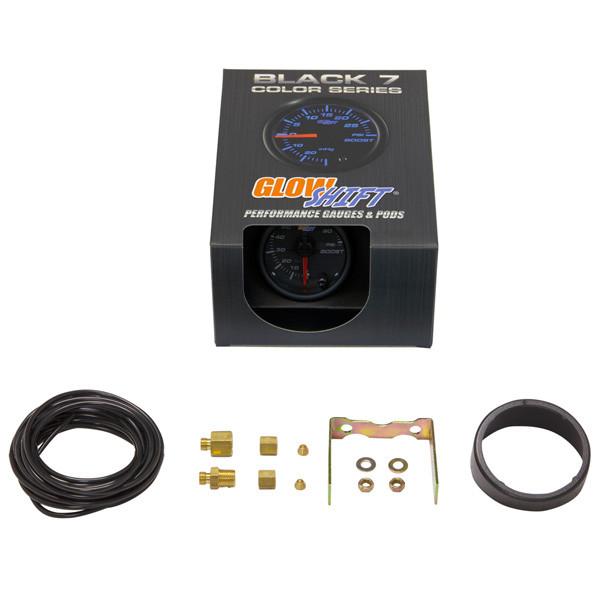 GlowShift Black 7 Color 100 PSI Boost Gauge Unboxed