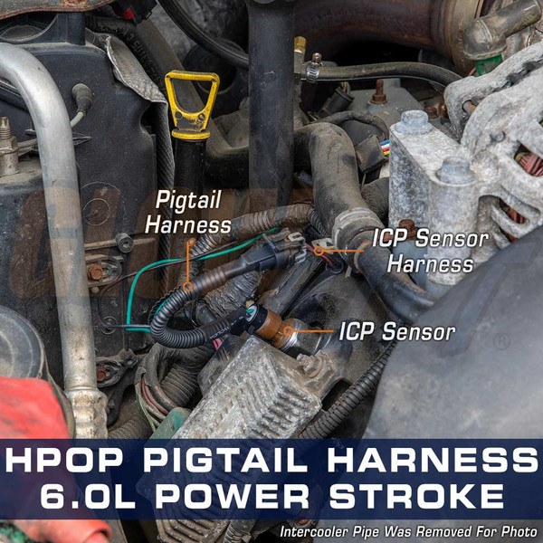 High Pressure Oil Pressure HPOP Gauge Wiring Harness Installed to 6.0L Power Stroke