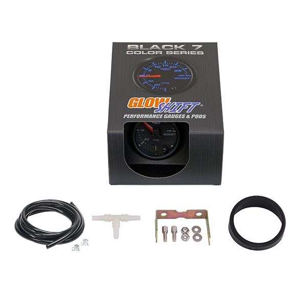 GlowShift Black 7 Color 15 PSI Boost/Vacuum Gauge Unboxed