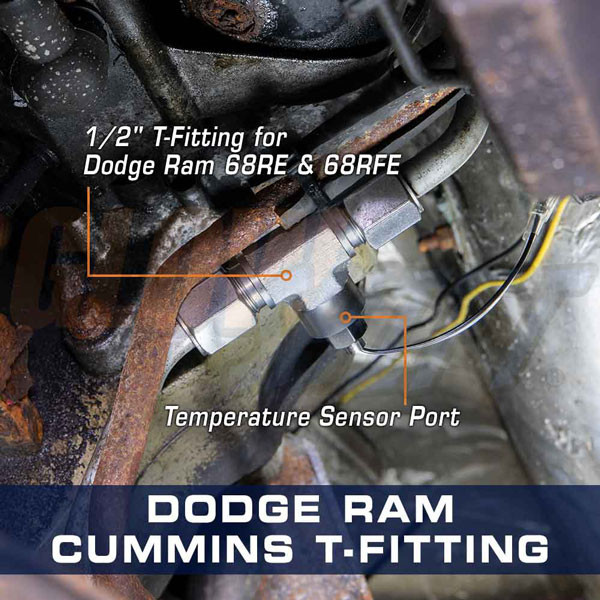 Transmission Line T-Fitting Adapter for Dodge Ram Cummins Installed
