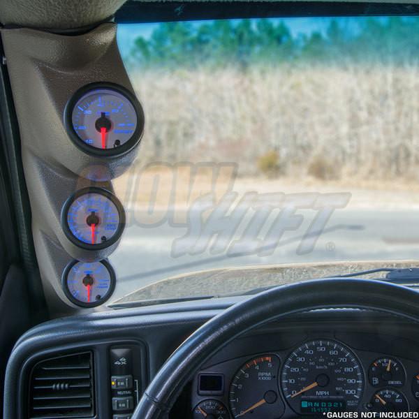 2000-2006 GMC Sierra Duramax Gray Triple Pillar Pod Front View Installed