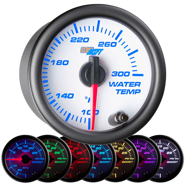 White 7 Color Water Temperature Gauge