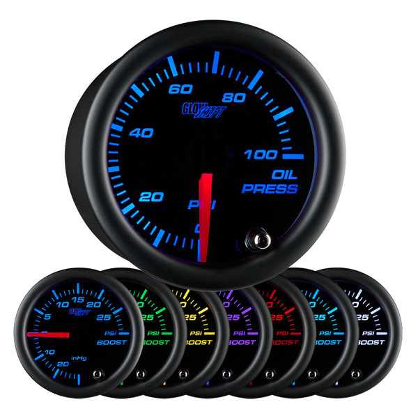 Black 7 Color Oil Pressure Gauge