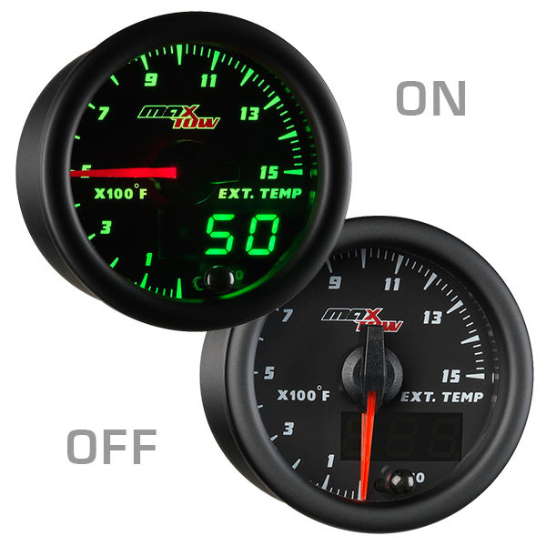 Black & Green MaxTow 1500 Degree F Exhaust Gas Temperature Gauge On/Off View