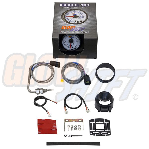 GlowShift White Elite 10 Color 1500 Degree Fahrenheit Pyrometer EGT Gauge Unboxed