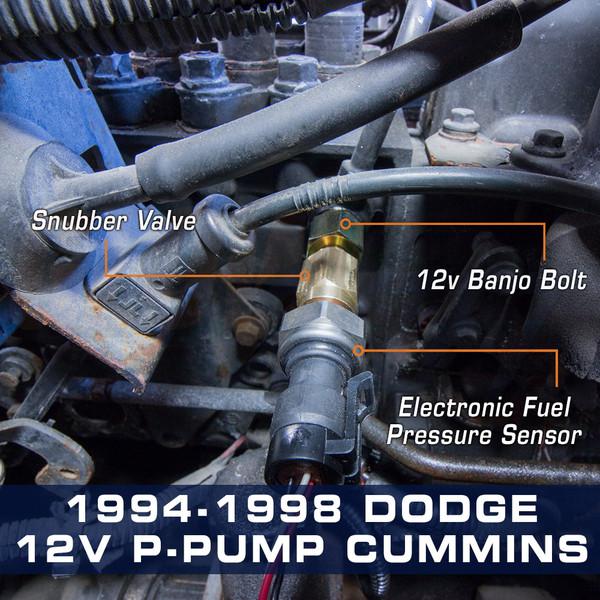 Banjo Bolt Adapter Installed to 94-98 Dodge 12-Valve P-Pump Cummins