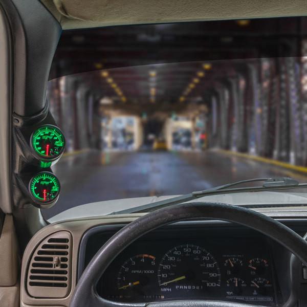 Elite 10 Color Series Dual Gauge Package for 2000-2007 Chevrolet Silverado Duramax Installed