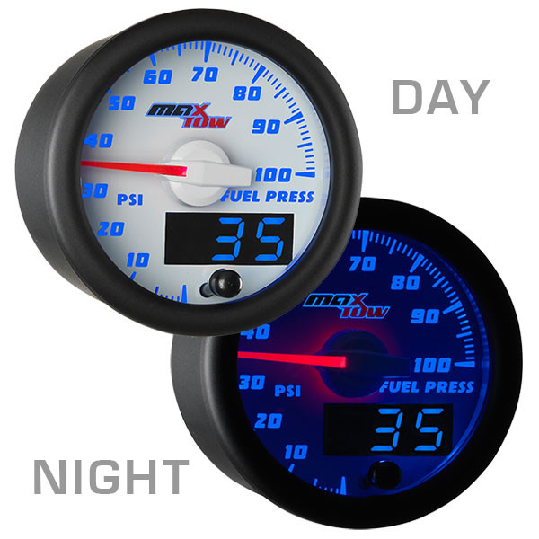 White & Blue MaxTow 100 PSI Fuel Pressure Gauge Day/Night View