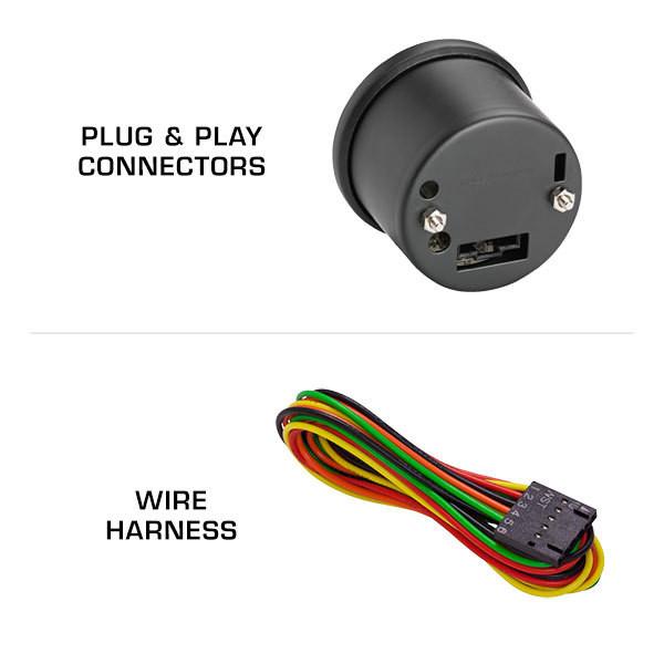 """Black 7 Color 2"""" Tachometer Gauge Wiring Harness"""