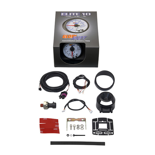 GlowShift White Elite 10 Color 100 PSI Fuel Pressure Gauge Unboxed