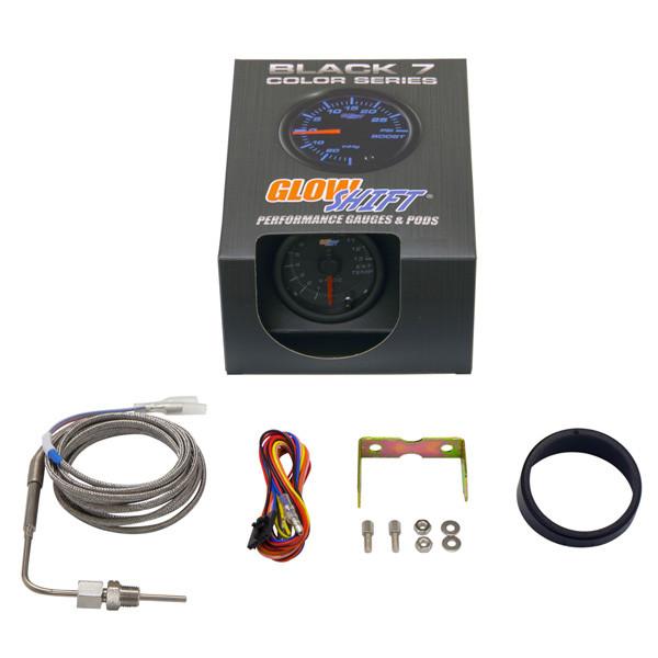 GlowShift Black 7 Color 1300° C Exhaust Gas Temperature Gauge Unboxed