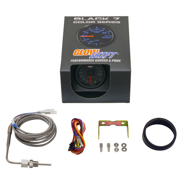 GlowShift Black 7 Color 1300° C Exhaust Gas Temperature Gauge Unboxed