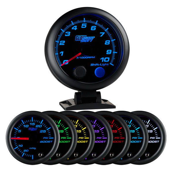 "Black 7 Color 3 3/4"" Tachometer w/ Shift Light"