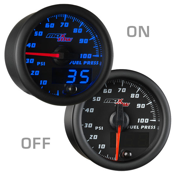 Includes Electronic Sensor for Trucks MaxTow Double Vision 100 PSI Fuel Pressure Gauge Kit Blue LED Illuminated Dial Analog /& Digital Readouts 2-1//16 52mm MT-BDV11 Black Gauge Face