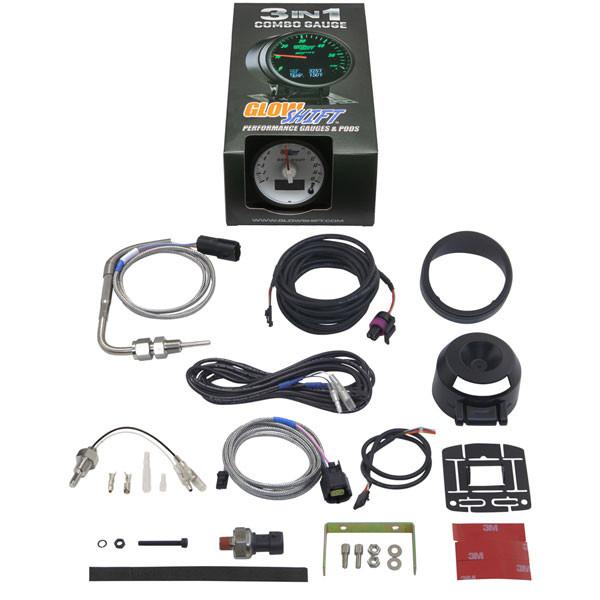 GlowShift 3in1 Dodge Ram Style EGT w/ Digital Boost & Temp Gauge Unboxed