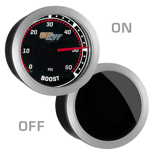 Tinted 60 PSI Diesel Boost Gauge On/Off View