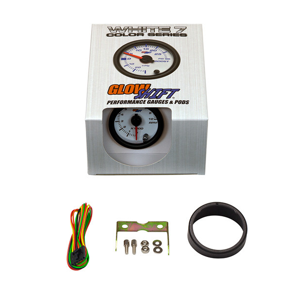 GlowShift White 7 Color 10,000 RPM Tachometer Gauge Unboxed