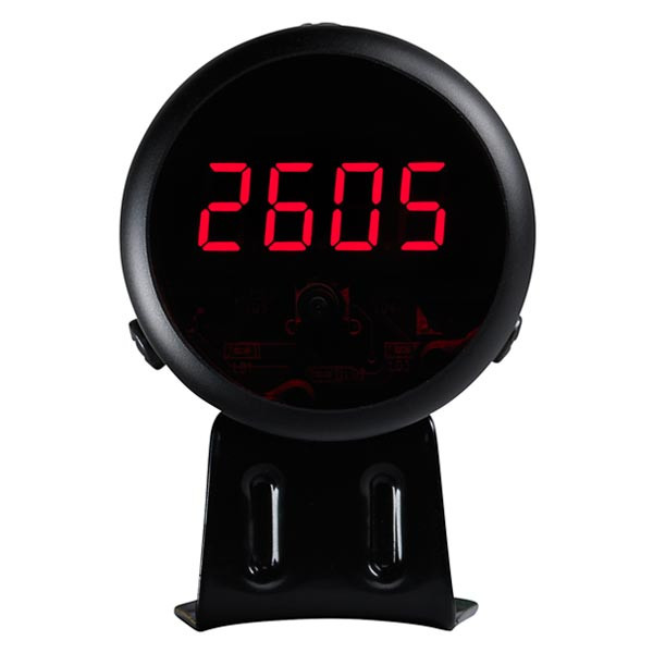 Black Digital Tachometer & Red LED Shift Light Straight View