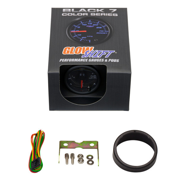 GlowShift Black 7 Color Fuel Level Gauge Unboxed