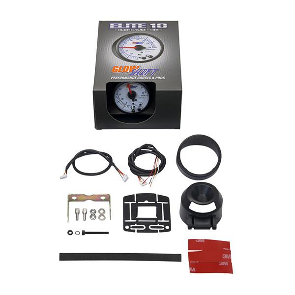 GlowShift White Elite 10 Color Voltmeter Gauge Unboxed