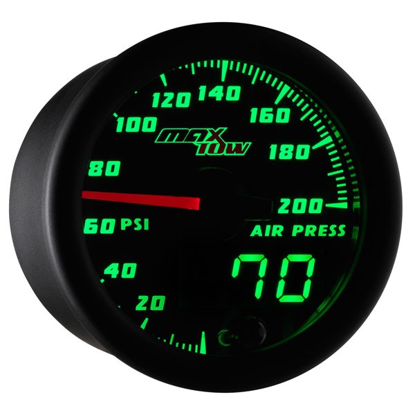 Black & Green MaxTow Air Pressure Gauge
