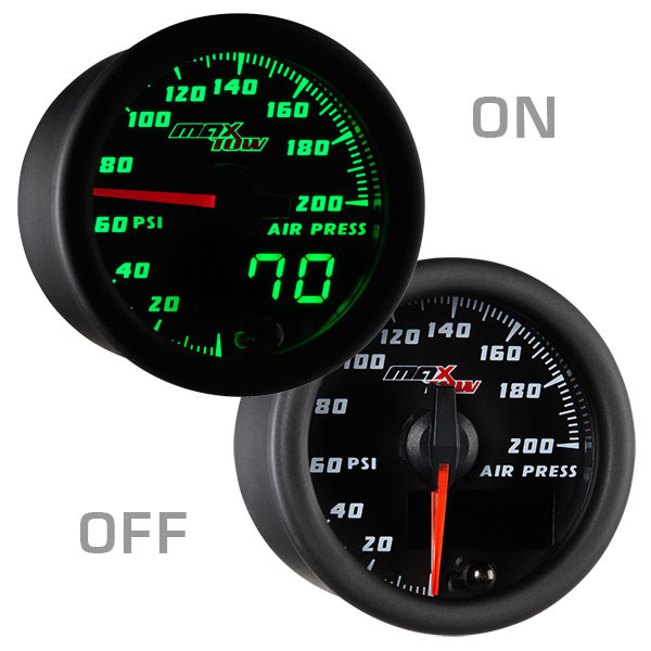 Black & Green MaxTow Air Suspension Gauge On/Off View