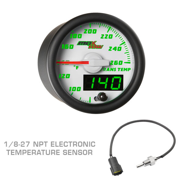 White & Green MaxTow Transmission Temperature Gauge with 1/8-27 NPT Electronic Temperature Sensor