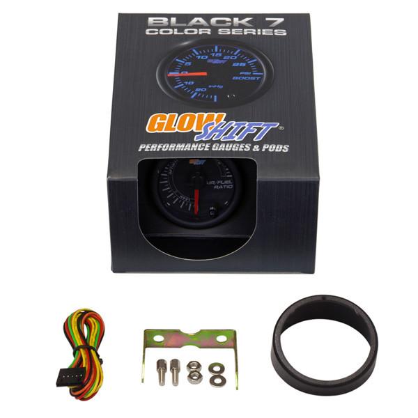 GlowShift Black 7 Color Needle Air / Fuel Ratio Gauge Unboxed