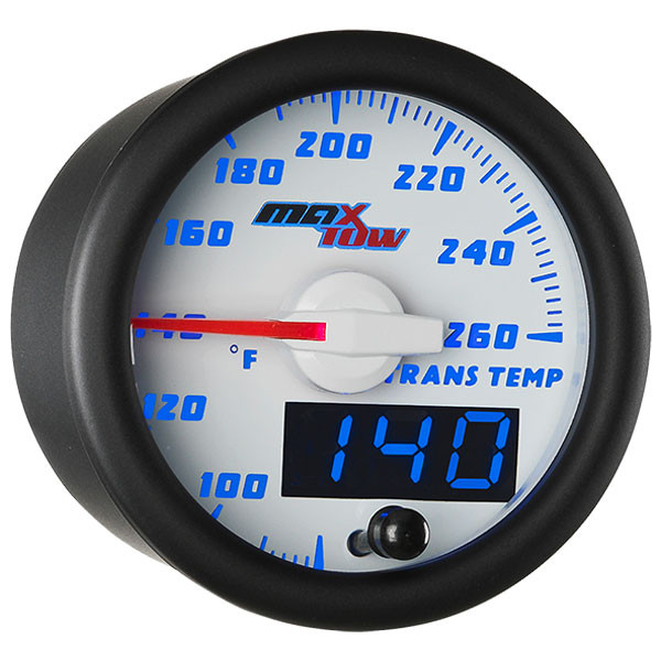 White & Blue MaxTow Transmission Temperature Gauge