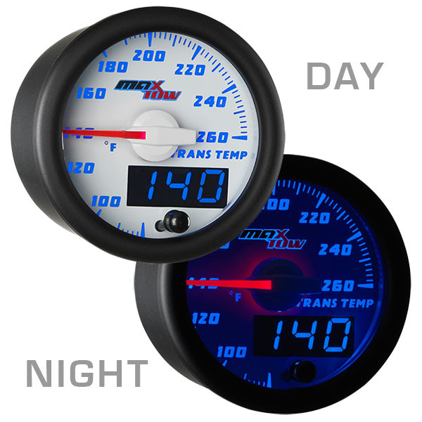 White & Blue MaxTow Transmission Temperature Gauge Day/Night View