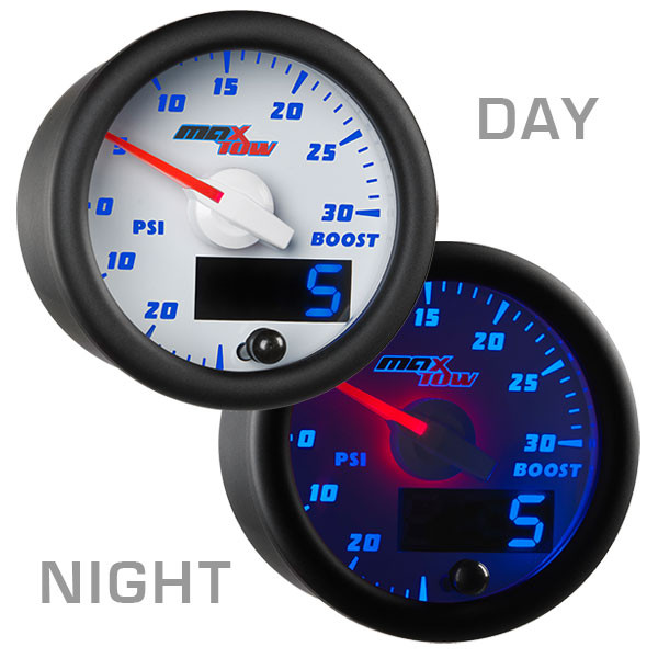 White & Blue MaxTow 30 PSI Boost/Vacuum Gauge Day/Night View