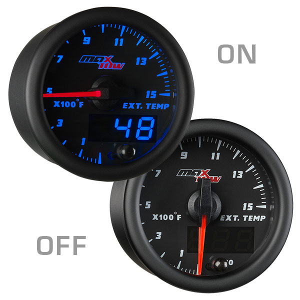 Black & Blue MaxTow 1500 F Exhaust Gas Temperature Gauge On/Off View