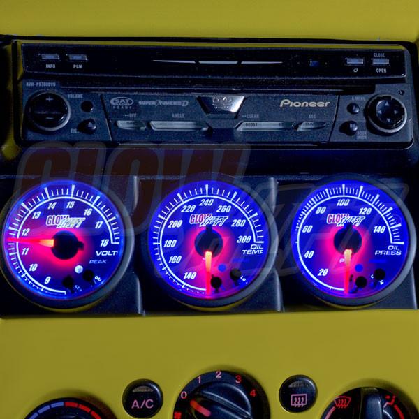 Universal Triple Gauge Single Din Radio Face Pod Installed