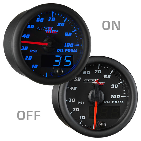 Black & Blue MaxTow Oil Pressure Gauge On/Off View