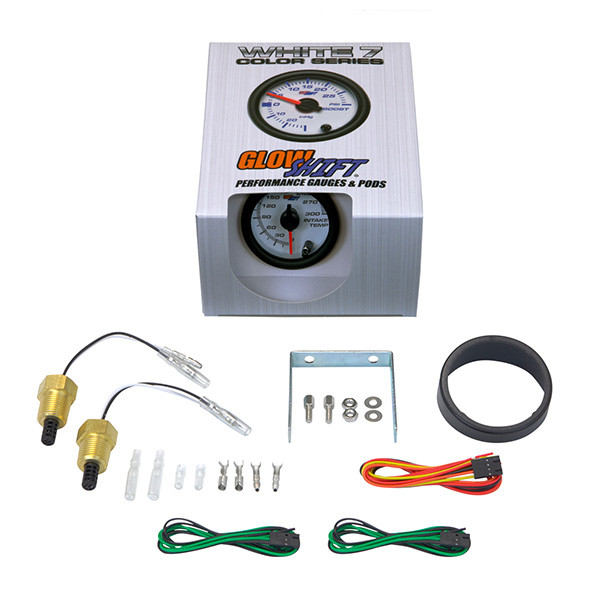 GlowShift White 7 Color Dual Intake Temperature Gauge Unboxed