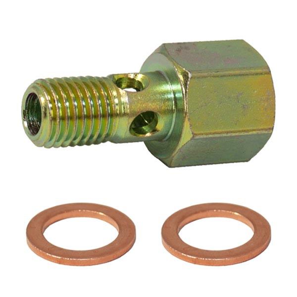 Fuel Pressure Banjo Bolt Thread Adapter & Included Crush Washers