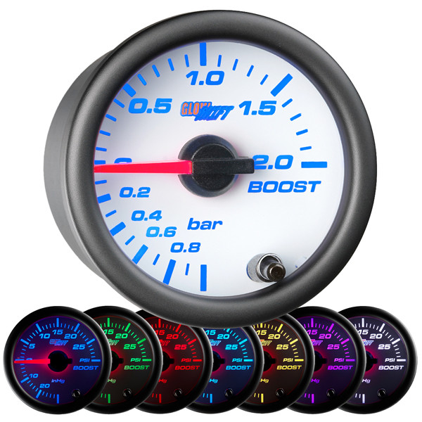 White 7 Color BAR Boost/Vacuum Gauge