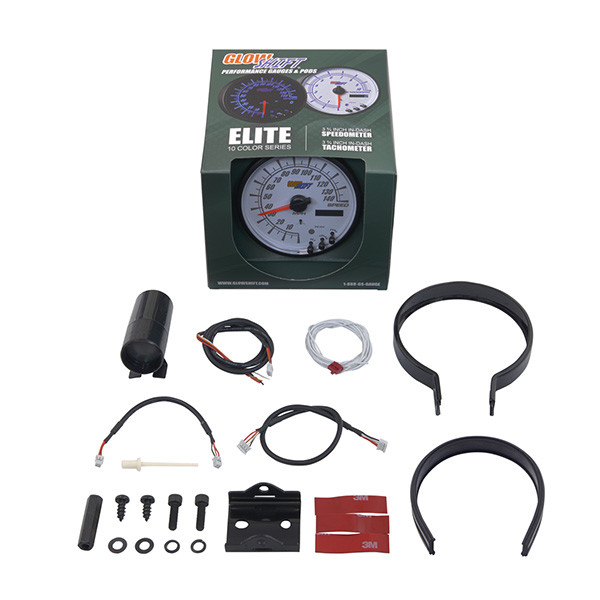"GlowShift White Elite 10 Color 3 3/4"" In Dash Speedometer Gauge Unboxed"