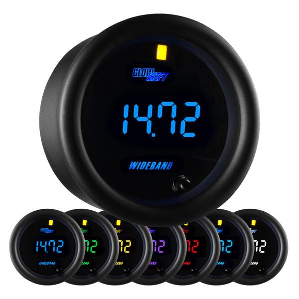 Black 7 Color Series Digital Wideband Air/Fuel Ratio Gauge