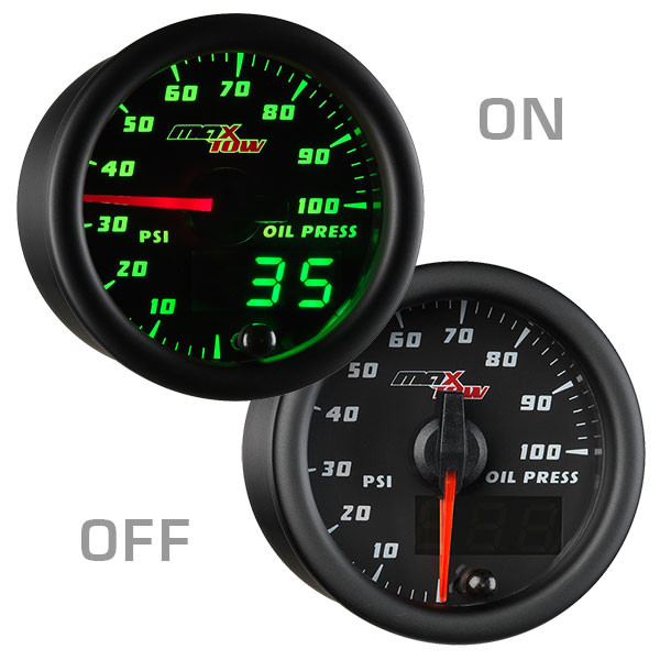 Black & Green MaxTow Oil Pressure Gauge On/Off View