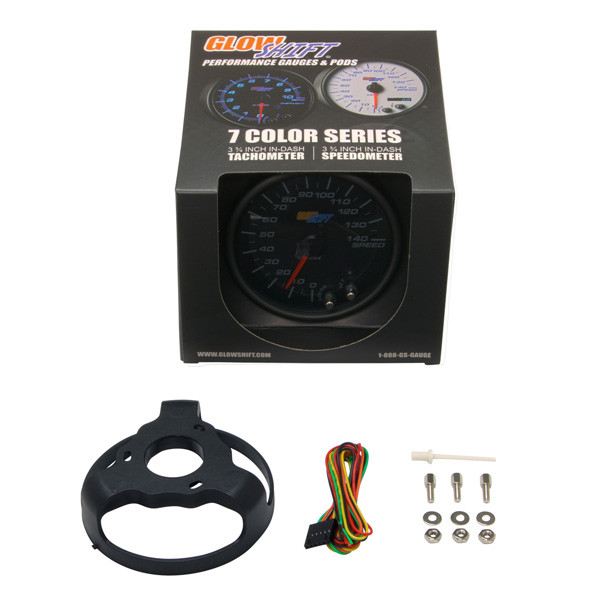 "GlowShift Tinted 7 Color 3 3/4"" In Dash Speedometer Gauge Unboxed"