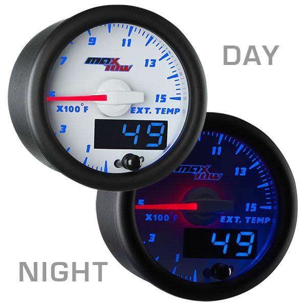 White & Blue MaxTow 1500 Degree F Pyrometer EGT Gauge Day/Night View