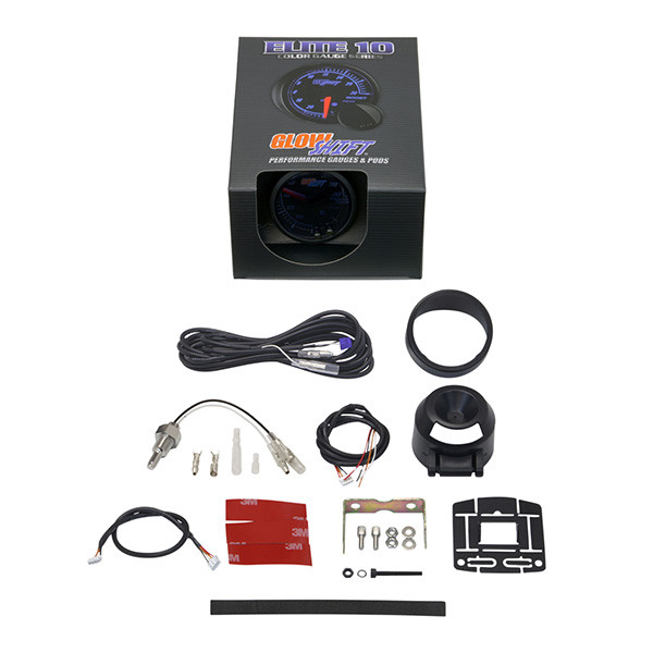 GlowShift Elite 10 Color 260°F Transmission Temperature Gauge Unboxed