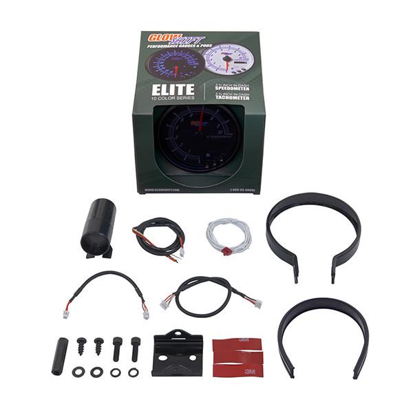 "Elite 10 Color 3 3/4"" In Dash Tachometer w/ Shift Light Unboxed"