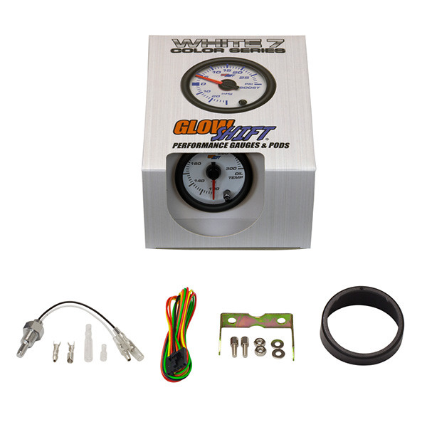 GlowShift White 7 Color Oil Temperature Gauge Unboxed