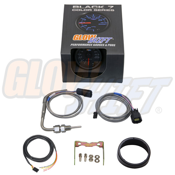 GlowShift Black 7 Color 2400° F Exhaust Gas Temperature Gauge Unboxed